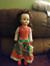 "Vintage 24"" Hard Plastic Doll with Piggy Tails Dress is a patchwork w/Re... - $50.00"