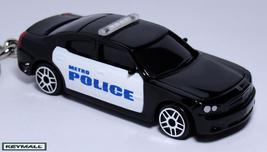 KEYCHAIN BLACK/WHITE DODGE CHARGER POLICE PATROL CAR PORTE CLE SCHLÜSSEL... - $19.94