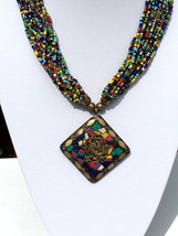 Multi strand Beaded Necklace; Indian Jewellery, Handmade, Colourful, Mul... - $15.84
