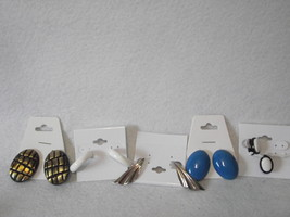 5pc Vintage new old stock clip on earrings lot black gold blue silver white - $10.00