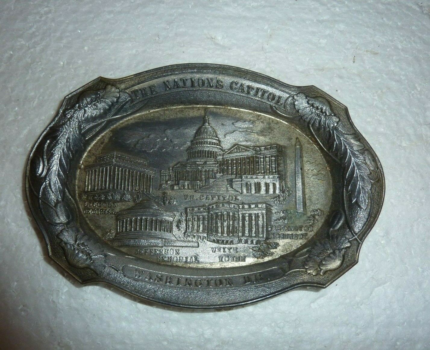 Primary image for Vintage Occupied Japan Washington DC  Souvenir Dish Metal Trinket Plate S-12