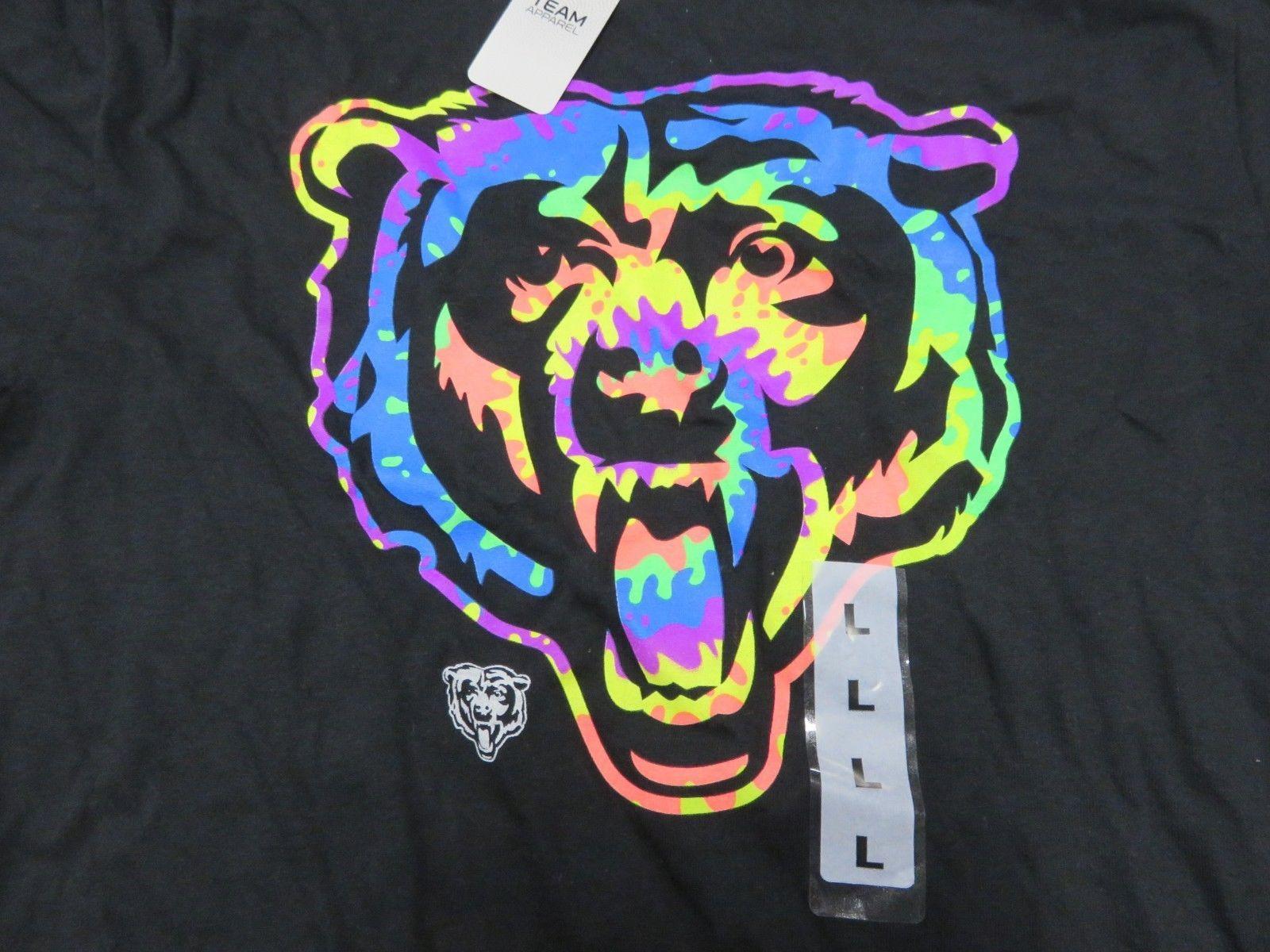 NWT NFL Team Apparel Chicago Bears Black w/ Rainbow Graphic T-Shirt Men's Size L image 2