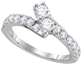 14k White Gold Round Diamond 2-stone Bridal Wedding Engagement Ring 1/2 ... - $629.00