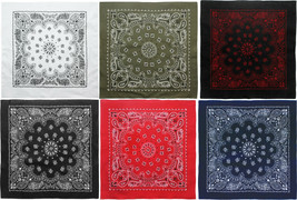 "6 Pack - Trainmen Paisley 100% Cotton Biker Bandanas (27"" x 27"") - $29.99"