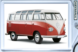Keychain Red Vw 21 Windows Bus Van Keytag Volkswagon Porte Cle Combi Transporter - $9.95