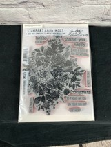 Tim Holtz GLORIOUS BOUQUET Cling Mounted Red Rubber Stamps w/gridblock  ... - $22.99