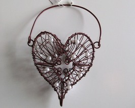 Heart Shaped Wire Basket for Hanging, w/Pearls, Small, New, Dark Red - $6.95