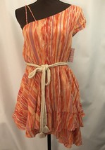 NEW FREE PEOPLE Sz XS Asymmetrical One Shoulder Mini Dress, Orange Combo, $128 - $67.72