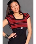 Petite Women ShortSleeve RedStriped Officewear Squareneckline Blouse belt 6 - $15.53