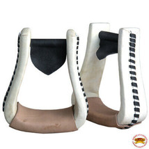 Horse Western Saddle Stirrup OversizeRawhide Leather Pair Hilason U-T113 - $49.95