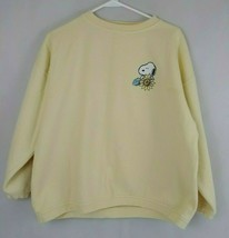 Vintage Paris Sports Club Yellow Snoopy Sunflower Sweatshirt Size XL - $17.75