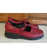 Mephisto Red Leather SHOES Woman's 9.5 Air Jet Mary Jane's Hook & Loop - $23.75