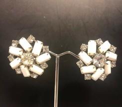 VIntage WEISS Clear Rhinestone Faceted Milk Glass Clip Earrings Silvertone - $27.98