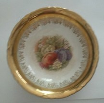Antique Serving Bowl Potters Co-Operative Semi Vitreous Gold Leaf Fruit - $34.91
