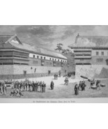 JAPAN Tokyo Street Scene in Aristocrat Daimios District - 1882 Wood Engr... - $19.80