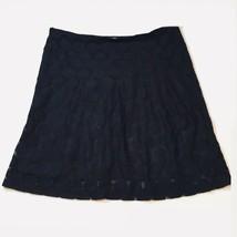 Black Lace Skirt A-Line Side Zip Women's Size 10 Large - £15.45 GBP