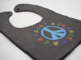 Boutique Baby Bib - Black Blue Aqua Peace Sign Grateful Dead Dancing Jer... - $12.99