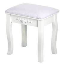 Vintage White Dressing Table Stool Padded Chair Makeup Piano Seat - $22.93