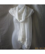 New long cream rayon scarf with lace, embroider... - $15.00