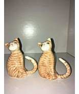"Pair of Marmalade Orange Tabby Cat Figurines - Bone China (vintage?) - 3"" GVC - $8.91"