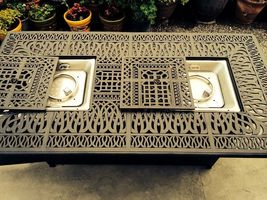 Fire pit propane bar table set 7 piece outdoor cast aluminum Palm Tree bar stool image 6