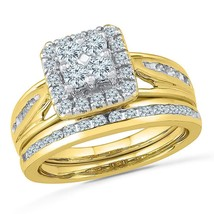 14kt Yellow Gold Round Diamond Bridal Wedding Engagement Ring Band Set 1.00 Ctw - £1,165.28 GBP