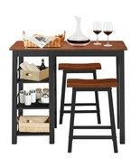 3 Piece Counter Height Dining Table Set w/2 Saddle Stools and Storage Shelves cy - $226.70