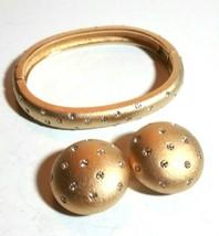 VINTAGE SWAROVSKI BRUSHED GOLD TONE RHINESTONE CLIP ON EARRINGS BRACELET... - $75.00