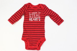 Carter's Baby One Piece Red Black Stripe Snap Bottom Size NB Newborn Lon... - $6.92