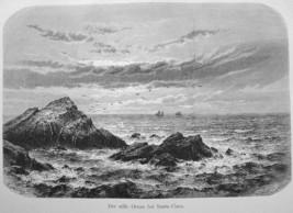 CALIFORNIA View of Pacific from Santa Clara - 1882 Engraving Antique Print - $21.60