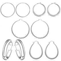 18K White Gold Plated High Polished Round Hoop Earrings, Choose A Size - $7.99