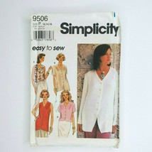 Simplicity 9506 Easy To Sew Sewing Pattern Misses Blouse 12-16 - $7.91