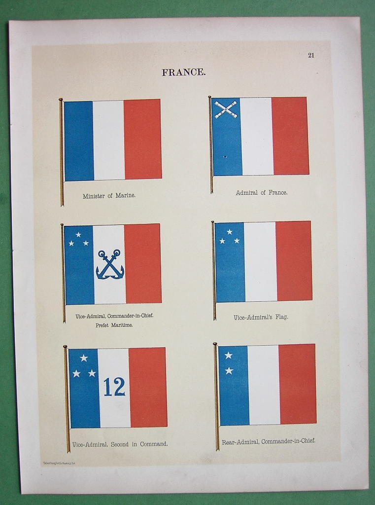 FRANCE Admiral Minister of Marine Naval Flags  - 1899 Color Litho Print