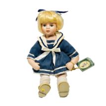 """Geppedo Porcelain Doll Blond Hair Blue Sailor Dress 11"""" Tall Collector's... - $17.81"""