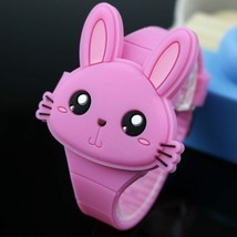 Watches Cartoon Rabbit Children Flip Cover Rubber Electronic Kids - €10,87 EUR