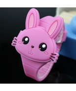 Watches Cartoon Rabbit Children Flip Cover Rubber Electronic Kids - $17.00 CAD