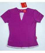 ESPRIT KIDS SMALL 7 8 NWT TOP RIBBED BERRY FLOWERS DAISY INSERT SHIRT NEW - $9.73