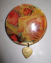 Unique Handmade Rose  Button Pin With A Vintage Brass Heart Dangle - $8.59