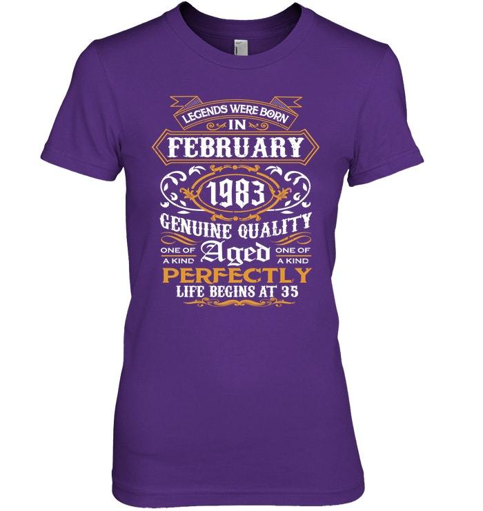 Legends Were Born In February 1983 35th Birthday Gift Shirt