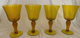 Bright YELLOW Wine Glasses Set Of 4 Ribbed Cup Chunky Elongated Ball Ste... - $39.59