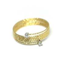 18K YELLOW GOLD MAGICWIRE RING, MULTI WIRES ELASTIC WORKED, contrarié, DIAMOND image 2