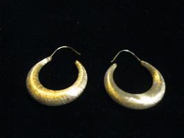 14K Yellow GOLD SATIN Hoop Earrings - 1 1/4 inches long - $165.00