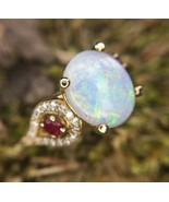 14k Yellow Gold Genuine Natural Opal Ruby and Diamond Ring (#J2650) - $1,895.00