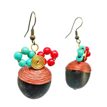 Colorful Hook Dangle Earrings Stone& Beads& Rope& Brass - $5.94