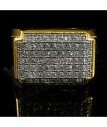 18K Gold Plated Solid 925 Sterling Silver Simulated Diamond Band Mens Pi... - $114.99