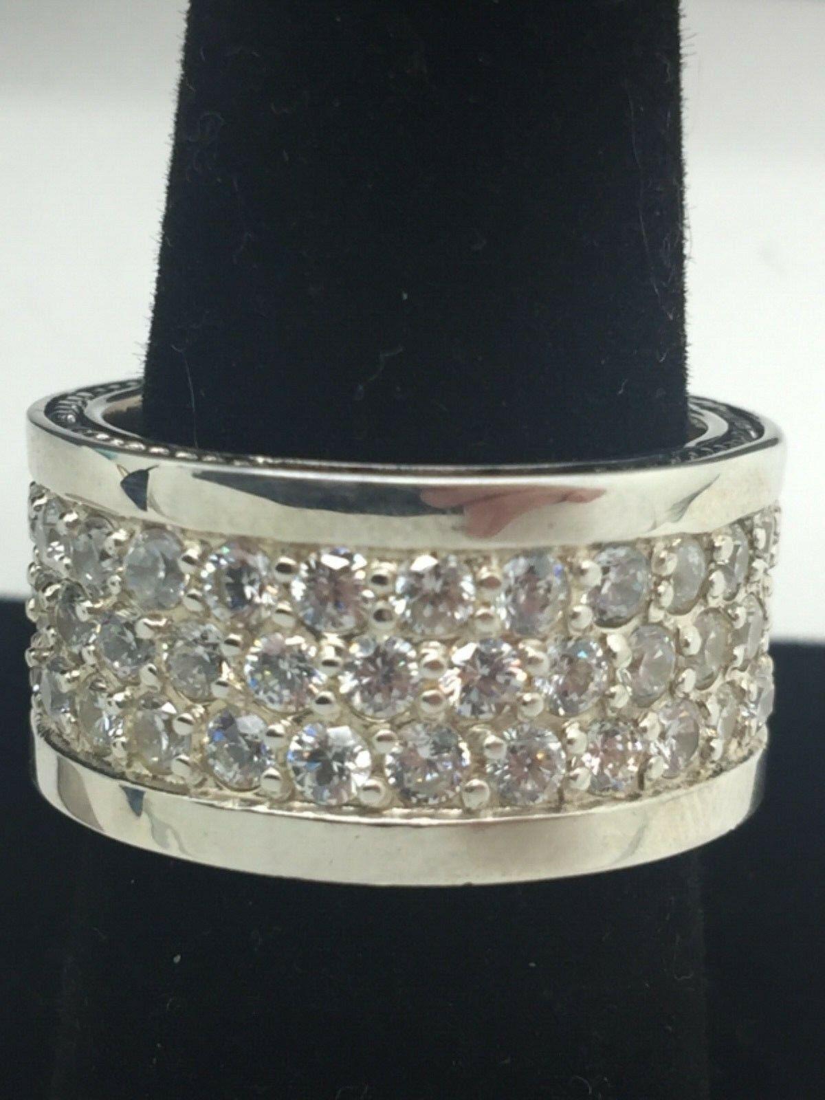 David Yurman 925 3-Row Grays Sappfire Ring Size 9
