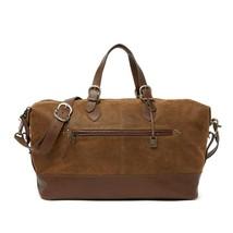 John Varvatos Collection Men's Traveler Duffle Zip Top Leather Bag Brownstone - $690.15