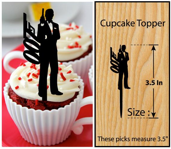 Wedding,Birthday Cake topper,Cupcake topper,silhouette James Bond 007 : 11 pcs