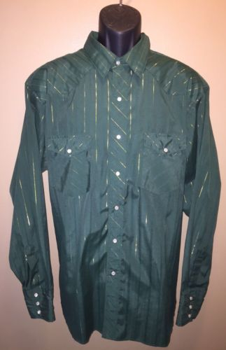 Vintage WRANGLER Green Western Shirt Gold Thread Pearl Snap Buttons Striped XL