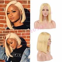 Blonde Bob Wig 13x6 Deep Part Short Bob Lace Front Wig Human Hair Pre Pl... - $83.23